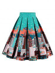 Printed High Waisted Skater Skirt - GREEN+ORANGE L