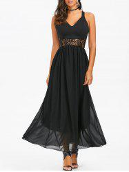 Lace Insert Chiffon Maxi Party Formal Dress - BLACK