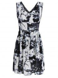 V Neck Sleeveless Dress with Chinese Painting