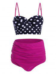 Plus Size Polka Dot High Waist Retro Bikini