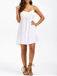 Crochet Trim Halter Neck Summer A Line Dress - WHITE