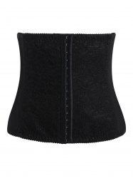 Lace Panel Steel Boned Plus Size Corset - Noir