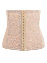 Lace Panel Steel Boned Plus Size Corset - Carnation