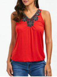 Front Embellished V Neck Tank Top - RED