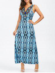 Split-Neck Embroidered Sleeveless Maxi Dress