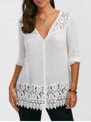 Lace Panel Button Up Blouse - WHITE