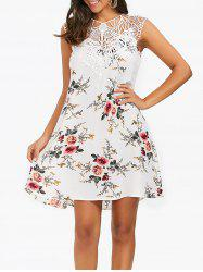 Sleeveless Cutwork Tiny Floral Dress - WHITE