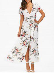 Floral High Slit Dress with Belt - WHITE