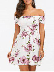 Mini Floral Off Shoulder A Line Skater Dress - WHITE M