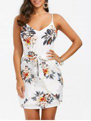 Spaghetti Strap Floral Print Mini Dress - WHITE