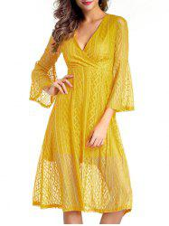 V Neck Midi Lace A Line Dress With Sleeves - YELLOW