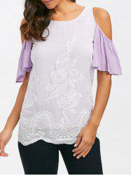 Embroidered Cold Shoulder T-Shirt