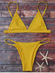 Spaghetti Strap String Bikini Set - YELLOW