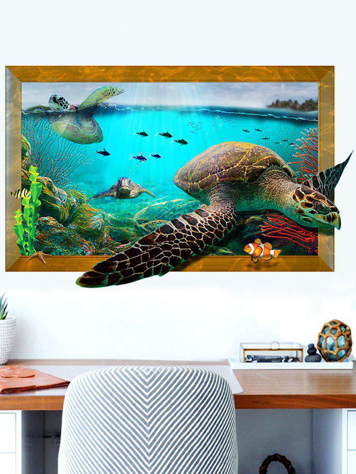 3D Decal Turtle Animal Removable Vinyl Wall StickerHOME<br><br>Size: 60*90CM; Color: COLORMIX; Wall Sticker Type: 3D Wall Stickers; Functions: Decorative Wall Stickers; Theme: Animals; Material: PVC; Feature: Removable; Weight: 0.3951kg; Package Contents: 1 x Wall Sticker;