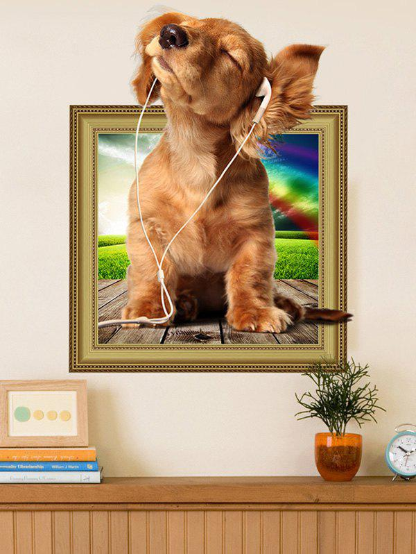 Removable 3D Dog Animal Vinyl Wall Art Sticker For Kids RoomHOME<br><br>Size: 40*50CM; Color: BROWN; Wall Sticker Type: 3D Wall Stickers; Functions: Decorative Wall Stickers; Theme: Animals; Material: PVC; Feature: Removable; Weight: 0.1553kg; Package Contents: 1 x Wall Sticker;