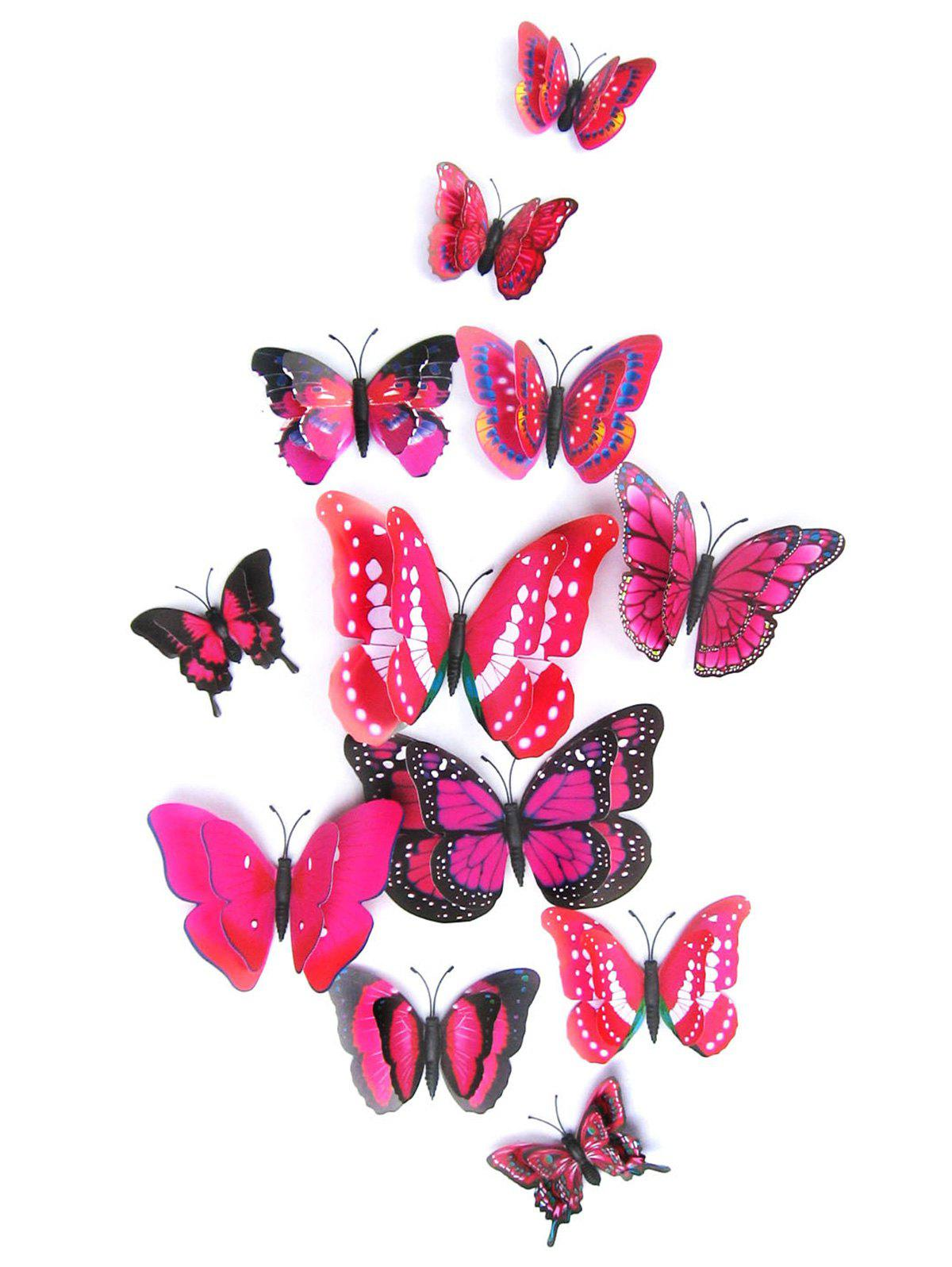 12Pcs/Set Magnet DIY 3D Butterflies PVC Wall StickersHOME<br><br>Color: ROSE MADDER; Wall Sticker Type: 3D Wall Stickers; Functions: Decorative Wall Stickers; Theme: Animals,Shapes; Material: PVC; Feature: Removable; Weight: 0.0864kg; Package Contents: 1 x Butterfly Wall Stickers ?12Pcs/Set?;