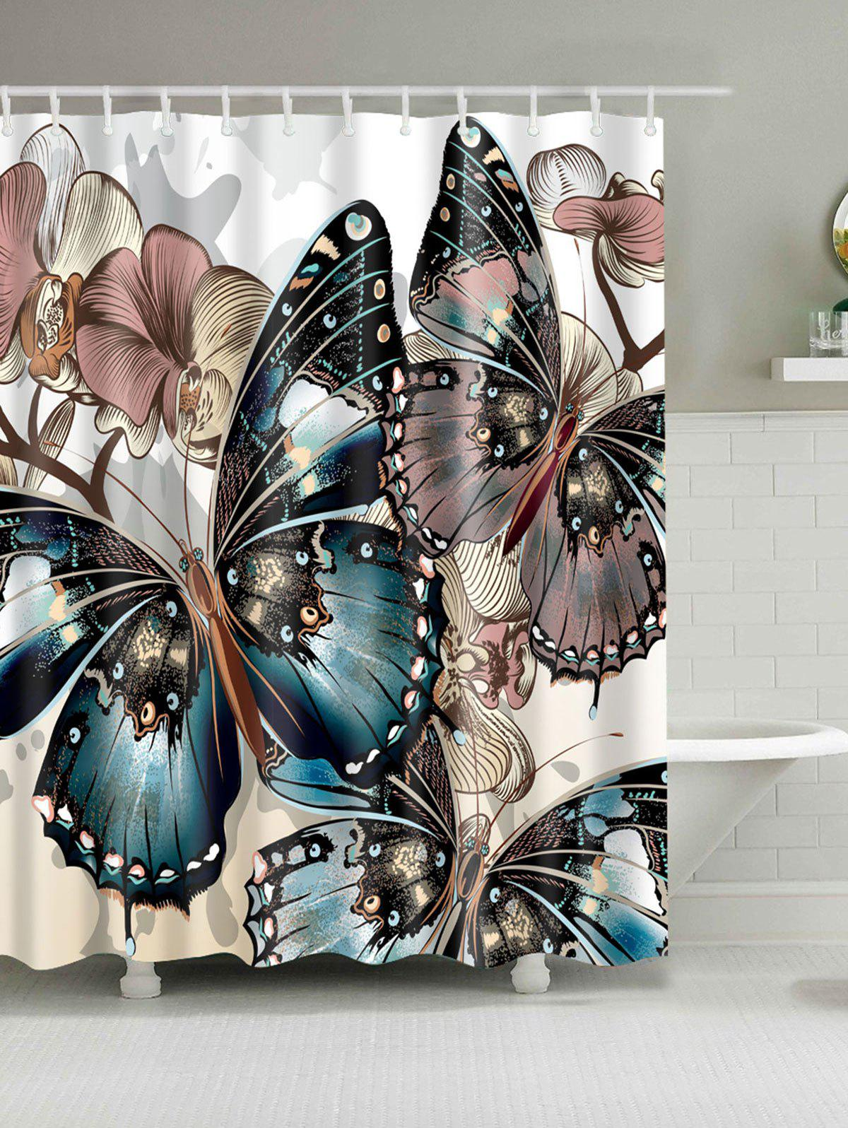 Butterfly Print Water Repellent Shower CurtainHOME<br><br>Size: W71 INCH * L71 INCH; Color: COLORMIX; Products Type: Shower Curtains; Materials: Polyester; Pattern: Insect; Style: Fashion; Number of Hook Holes: W59 inch*L71 inch: 10; W71 inch*L71 inch: 12; W71 inch*L79 inch: 12; Package Contents: 1 x Shower Curtain 1 x Hooks?Set?;