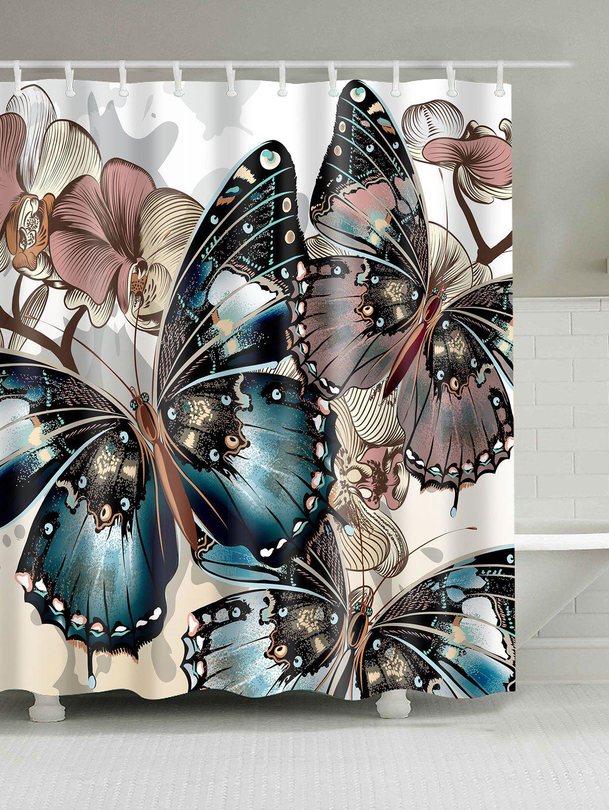 Butterfly Print Water Repellent Shower CurtainHOME<br><br>Size: W59 INCH * L71 INCH; Color: COLORMIX; Products Type: Shower Curtains; Materials: Polyester; Pattern: Insect; Style: Fashion; Number of Hook Holes: W59 inch*L71 inch: 10; W71 inch*L71 inch: 12; W71 inch*L79 inch: 12; Package Contents: 1 x Shower Curtain 1 x Hooks?Set?;
