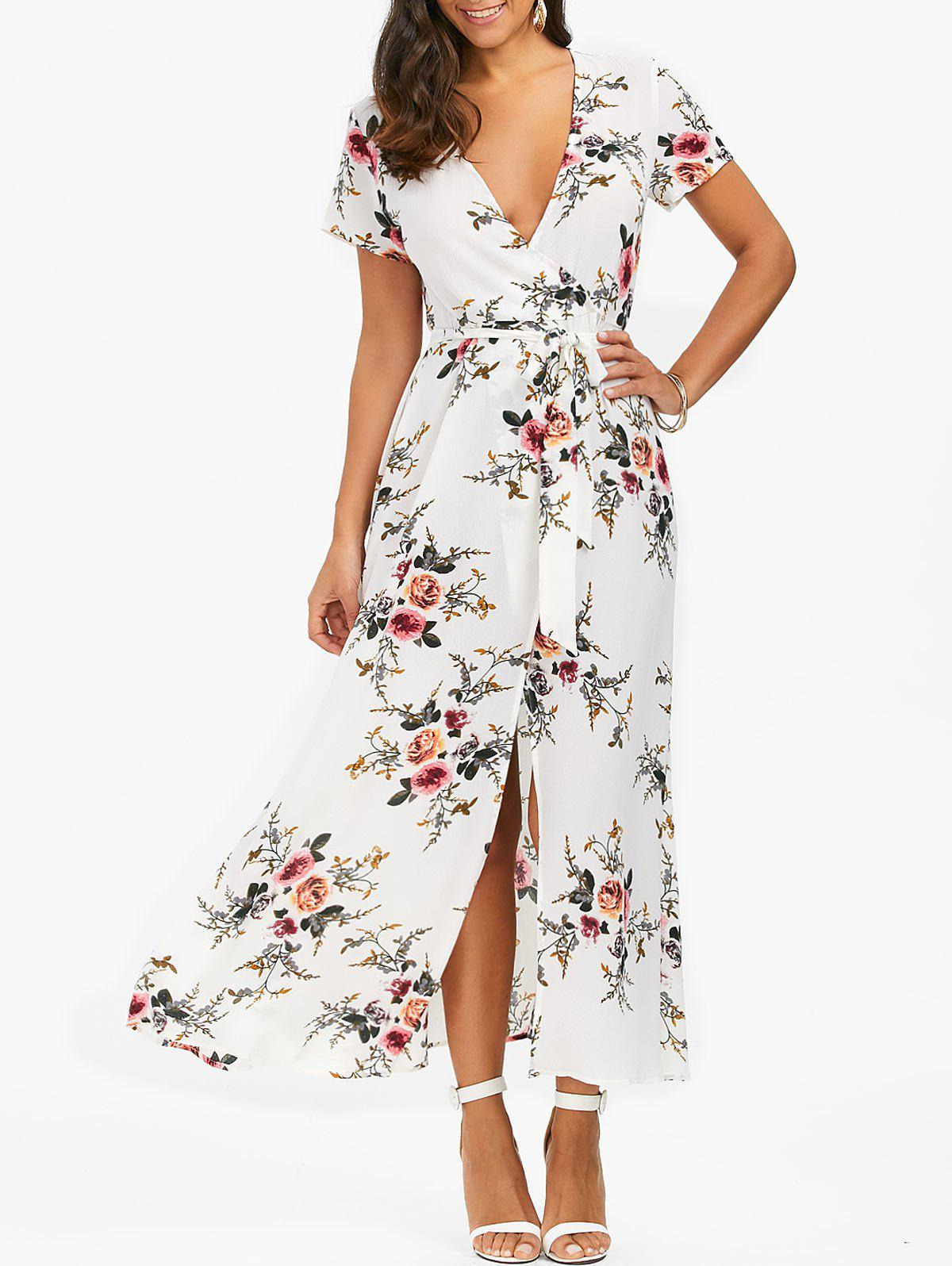 Fancy Floral High Slit Dress with Belt