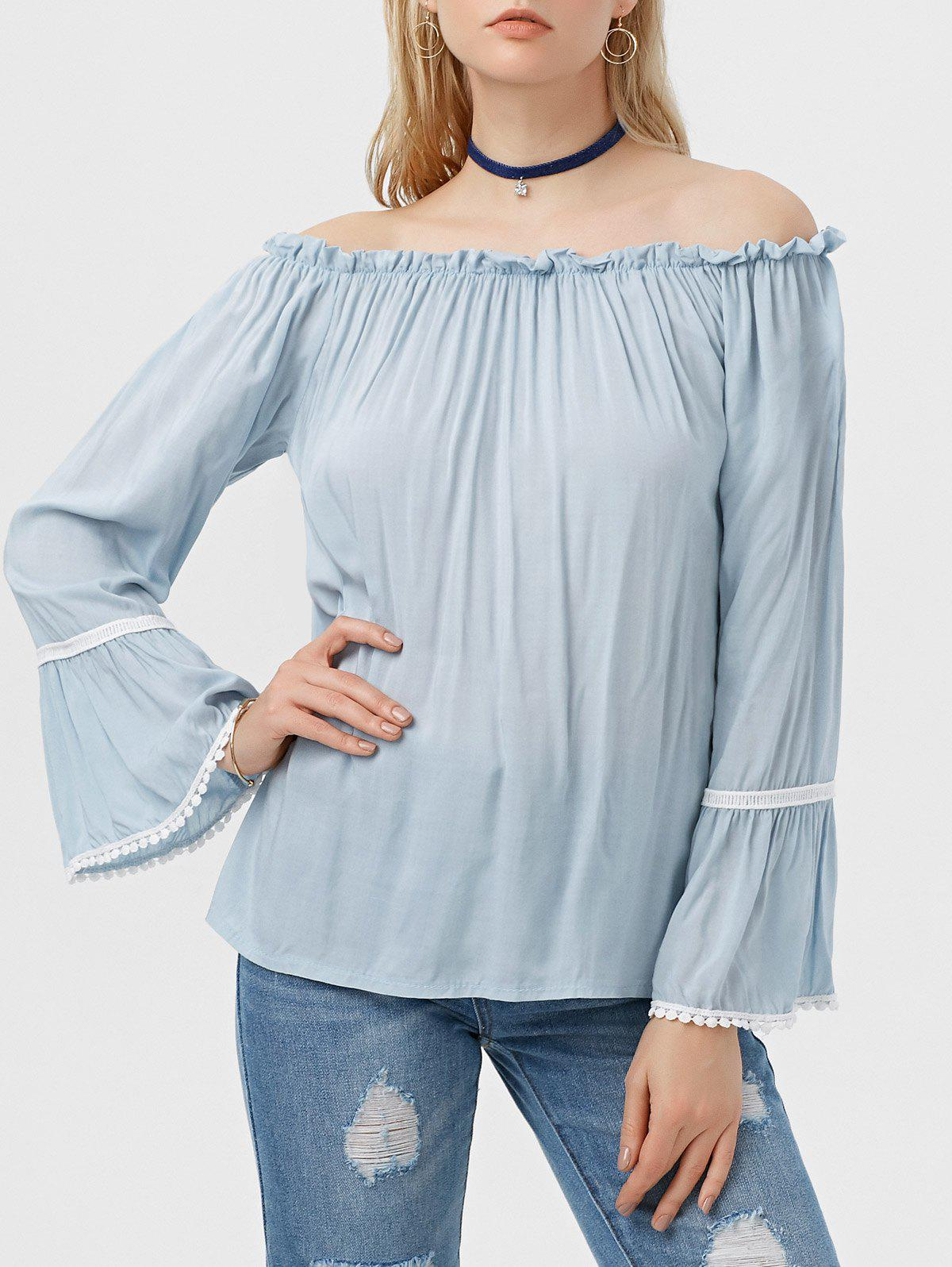 Cheap Off The Shoulder Flare Sleeve Ruffle Blouse