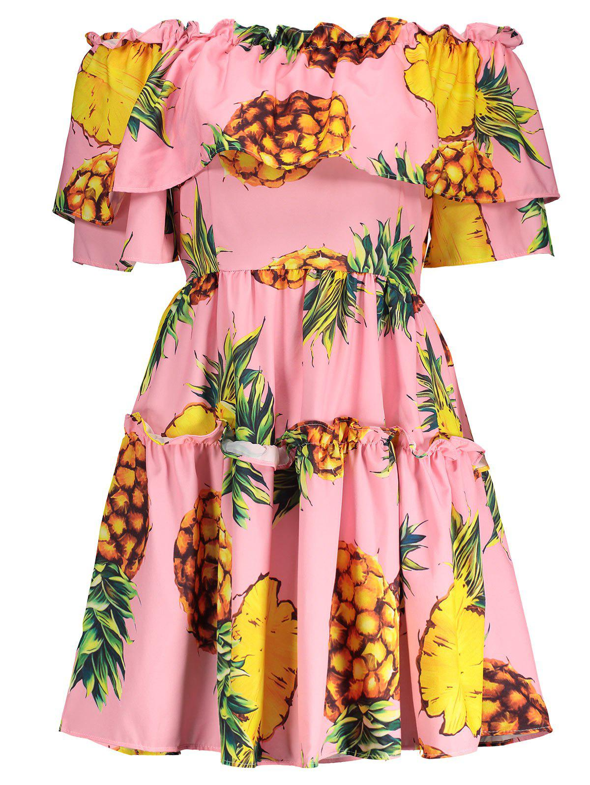 Store Pineapple Print Off The Shoulder Hawaiian Dress
