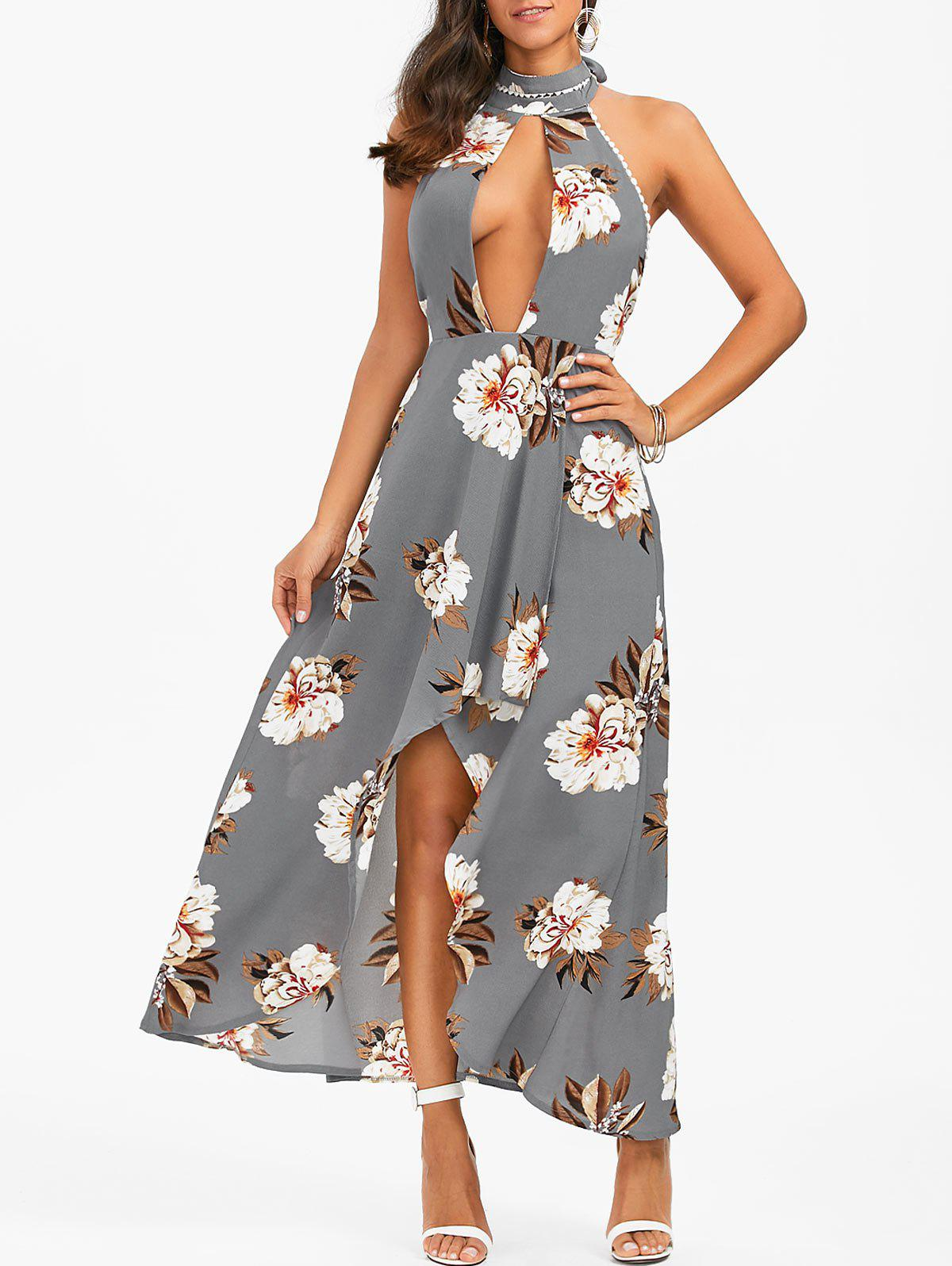 Outfit Halter Backless Floral Print Boho Swing Casual Maxi Dress