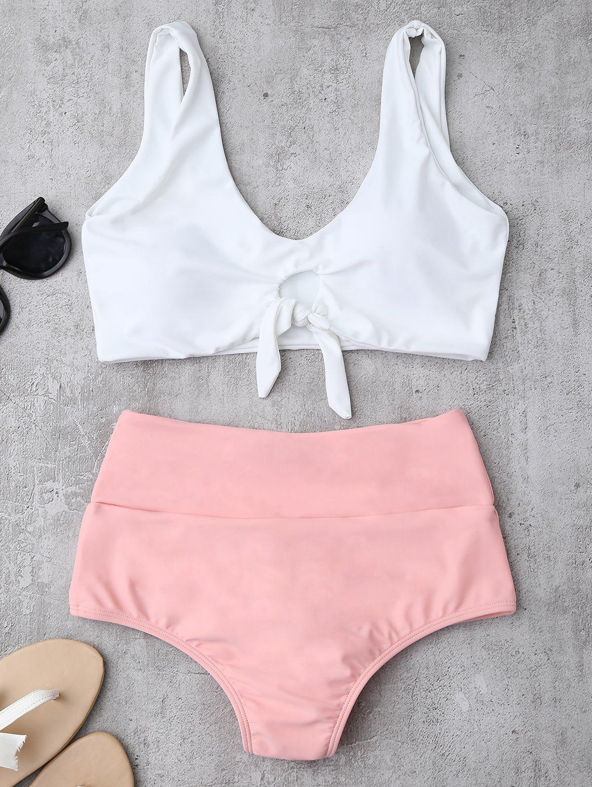 High Waisted Ruched Bikini SetWOMEN<br><br>Size: M; Color: PINK; Swimwear Type: Bikini; Gender: For Women; Material: Chinlon,Spandex; Bra Style: Padded; Support Type: Wire Free; Neckline: Straps; Pattern Type: Others; Waist: High Waisted; Elasticity: Elastic; Weight: 0.2200kg; Package Contents: 1 x Top  1 x Briefs;