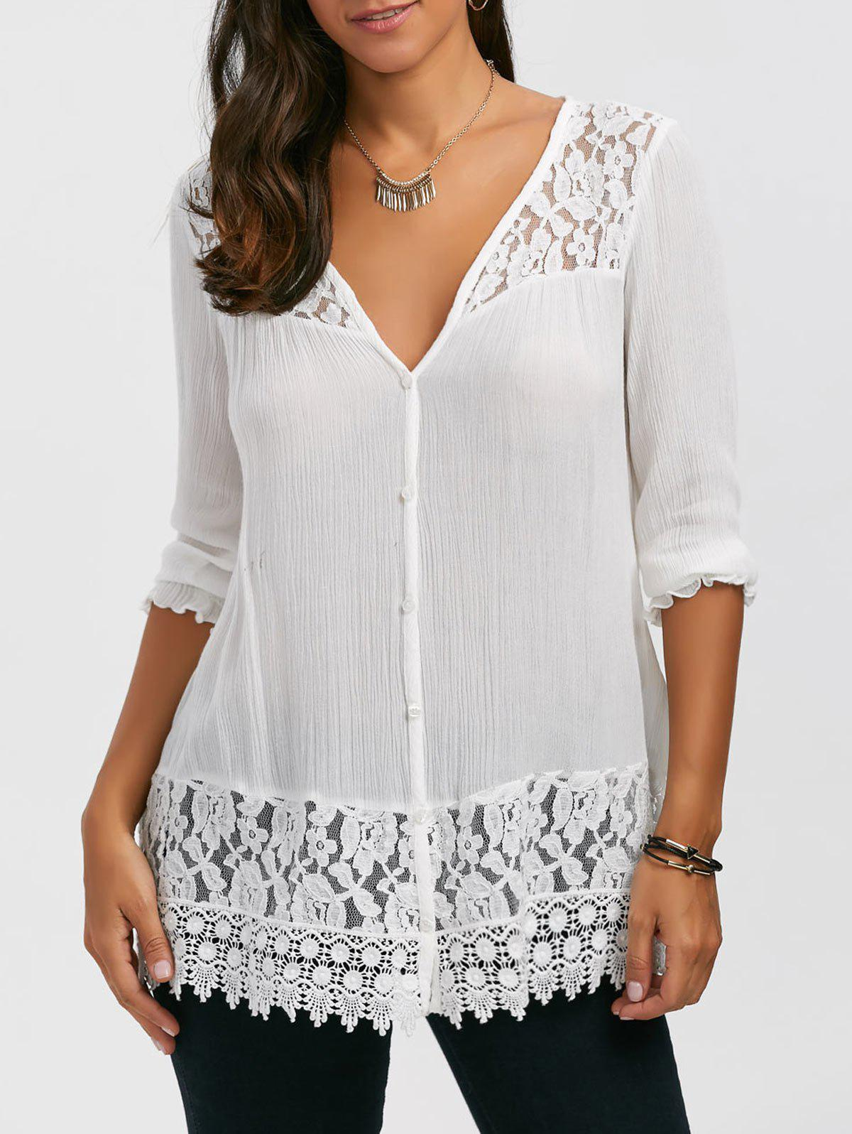 Lace Panel Button Up BlouseWOMEN<br><br>Size: 2XL; Color: WHITE; Occasion: Casual; Style: Casual; Material: Rayon; Shirt Length: Long; Sleeve Length: Three Quarter; Collar: V-Neck; Pattern Type: Floral; Season: Fall,Spring,Summer; Weight: 0.3000kg; Package Contents: 1 x Blouse;
