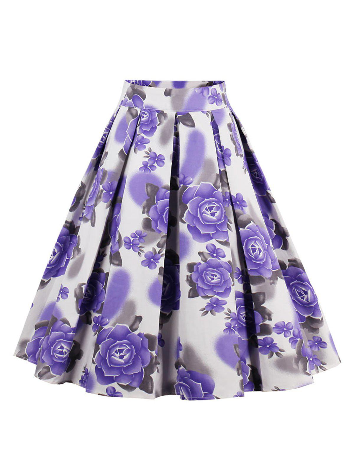 Affordable Printed High Waisted Skater Skirt