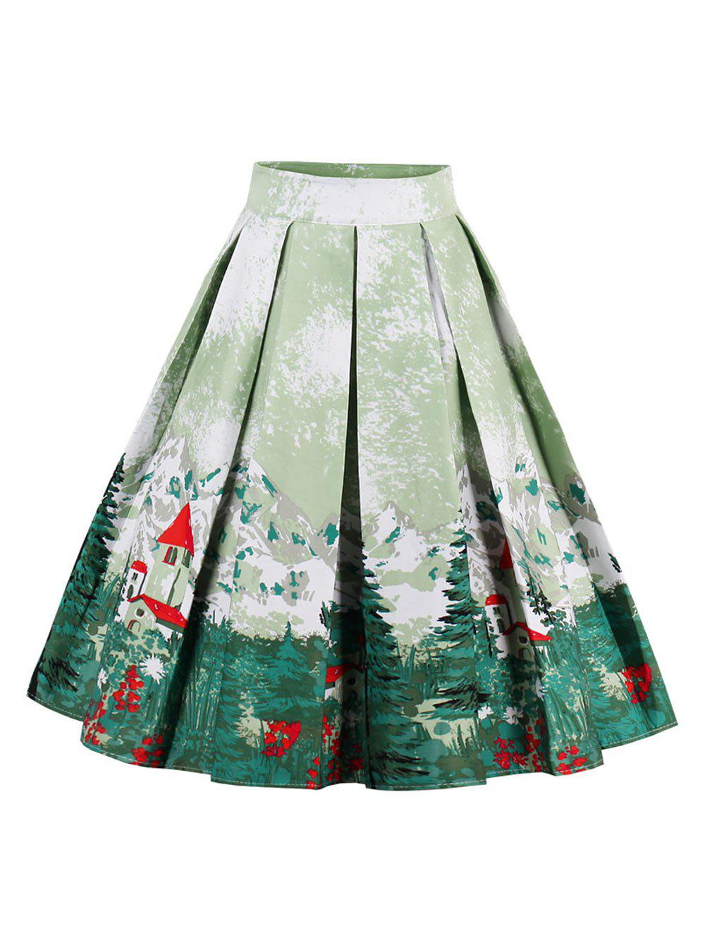 Unique Printed High Waisted Skater Skirt