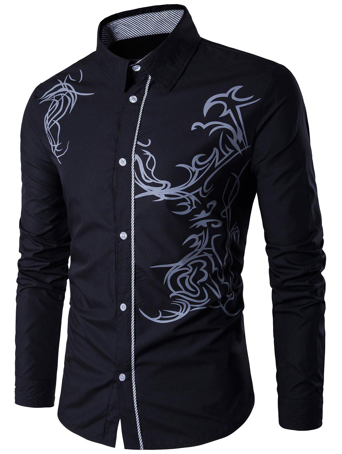 Long Sleeve Totem Pattern ShirtMEN<br><br>Size: XL; Color: BLACK; Shirts Type: Casual Shirts; Material: Cotton,Polyester; Sleeve Length: Full; Collar: Turndown Collar; Pattern Type: Print; Weight: 0.2225kg; Package Contents: 1 x Shirt;