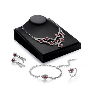 Faux Ruby Flower Geometric Jewelry Set - Silver