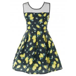 Sleeveless Mesh Insert Lemon Print Dress -