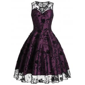 Tulle Floral Tea Length Vintage Party Dress - Purplish Red - M