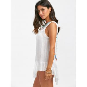 Sleeveless Tassel Crochet Cover Up - WHITE ONE SIZE