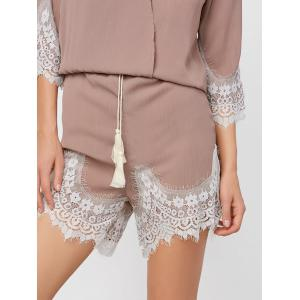 Lace Panel Surplice Romper - KHAKI M