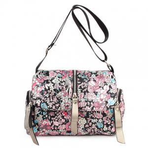 Nylon Floral Print Crossbody Bag - Colormix