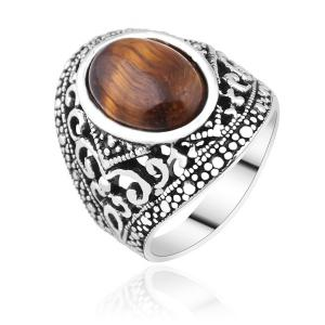 Artificial Gem Vintage Ring - Silver - 8