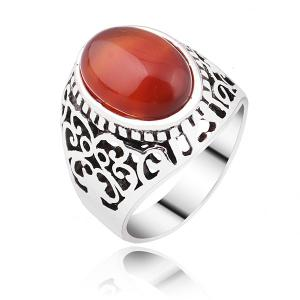 Faux Ruby Vintage Ring - Silver - 8