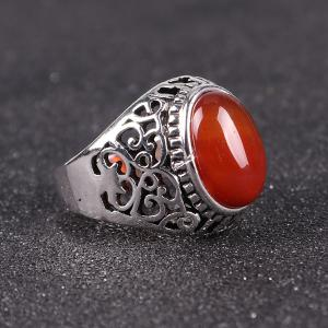 Faux Ruby Vintage Ring - SILVER 8
