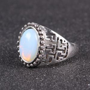 Faux Opal Vintage Ring - SILVER 9