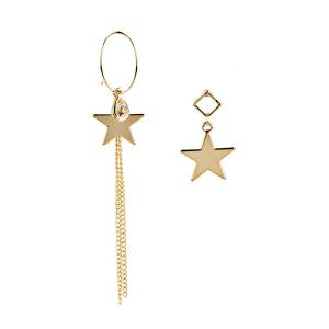 Asymmetric Fringed Star Earrings