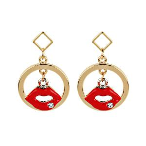 Rhinestone Lips Circle Geometric Earrings