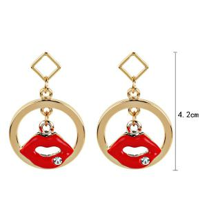 Rhinestone Lips Circle Geometric Earrings - GOLDEN