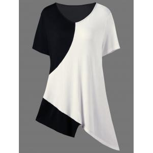 Asymmetrical Color Block Plus Size Long T-Shirt - White And Black - 3xl