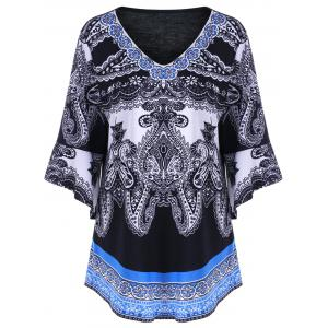 Plus Size Paisley Graphic Bell Sleeve Tee - Black - 3xl
