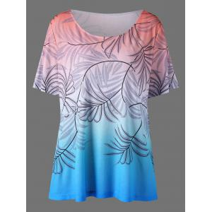Leaf Print Ombre Plus Size T-Shirt
