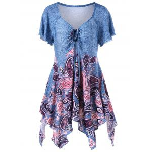 Empire Waist Paisley Plus Size Asymmetric T-Shirt