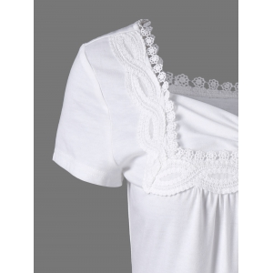 Sweetheart Neck Crochet Panel Long T-Shirt - WHITE XL