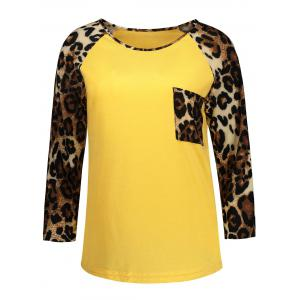 Long Sleeve Leopard Pocket T Shirt - Yellow - S